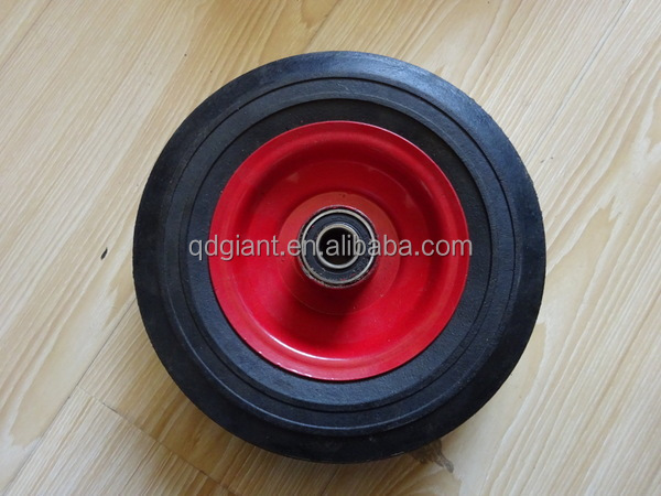 195mm diameter solid rubber wheel for hand truck , hand trolley , air compressors