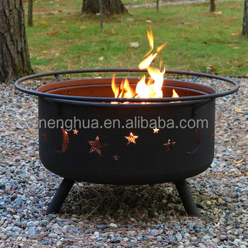 30u0026quot; Round Metal Fire Pit Wood Or Charcoal/Garden Treasures ...