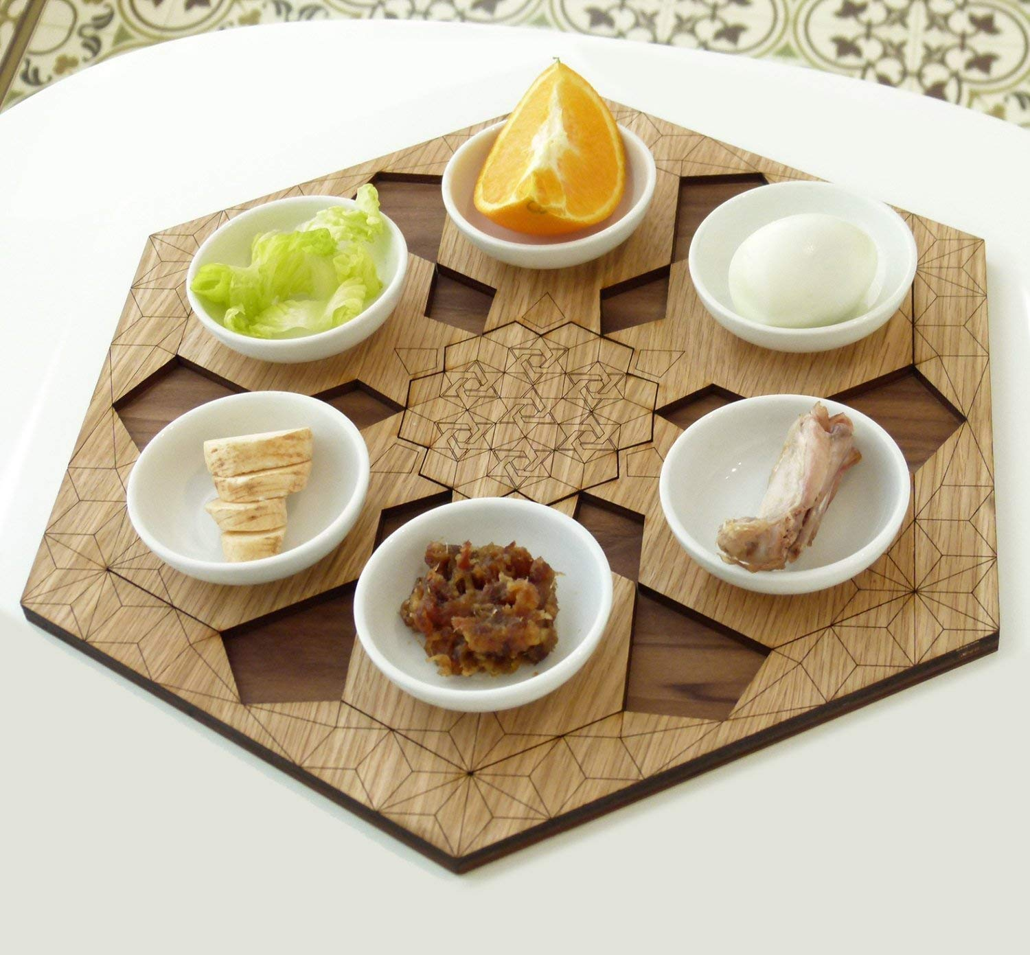 Modern Passover Seder Plate + Set of 6 Pomegranate Shape Coasters. Judaica Gift from Israel, in Hexagon trendy design. Walnut and Oak Veneer over with Laser-Cut Engraving