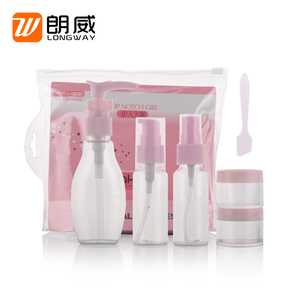 cute style 5 in 1 wholesale cheap hotel plastic empty makeup bottle cosmetic travel kit