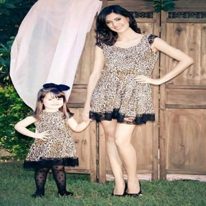 Hot Sale Fashion Mother And Daughter Hight Waist Sleeveless Dresses Summer Leopard Lace Dress