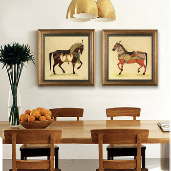 Square Embroidery Picture Frame Horse Double Hanging Photo Frames ...