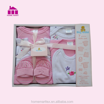 8c6963ef2e8e 100% Cotton New Born 7 Pieces Baby Gift Set Baby Layette Box - Buy ...