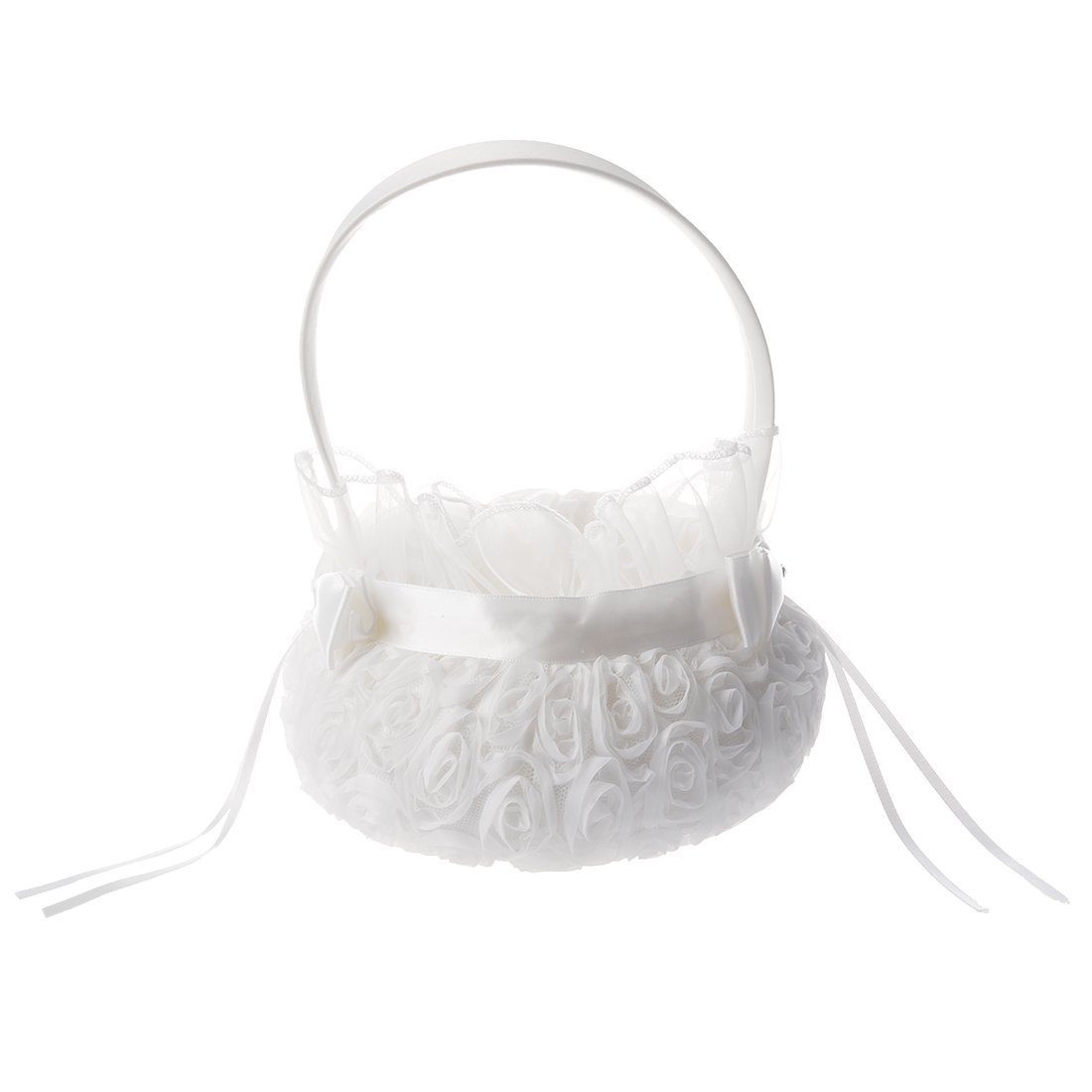 TOOGOO(R) Satin Wedding Flower Girl Basket Flower Basket (C) White