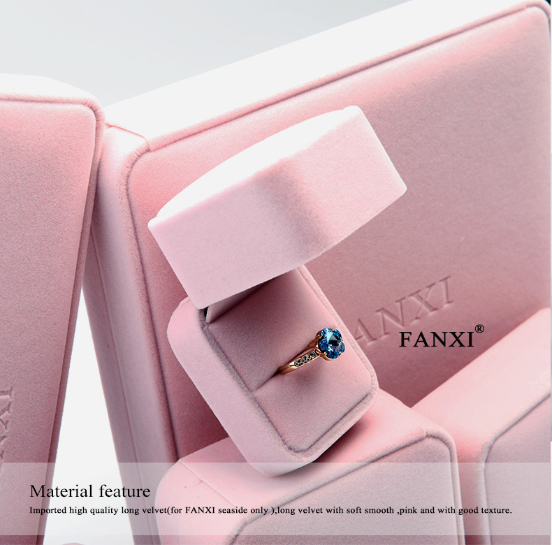 FANXI Popular Logo Printed Stock Jewelry Gift Box For Earrings Bracelet Necklace Insert Custom Soft Pink Velvet Ring Jewelry Box