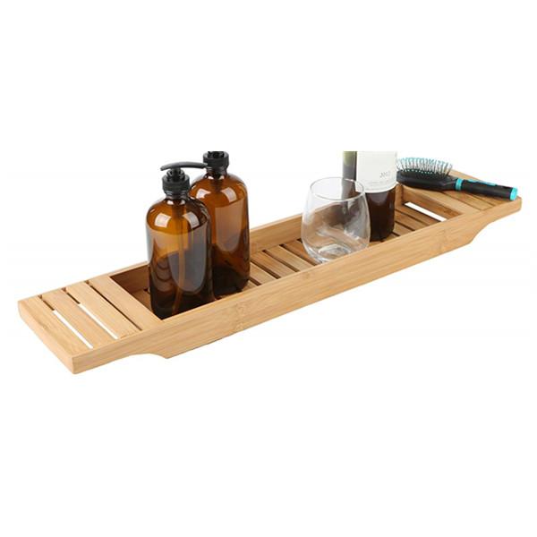 High quality natural bamboo bathtub caddy tray organizer 7