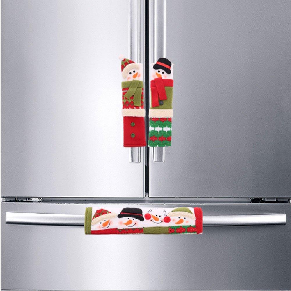 3Pcs Appliance Handle Covers- Snowman Kitchen Appliance Handle Covers Snowman Christmas Decoration