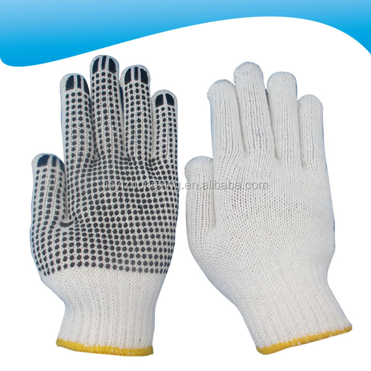 linyi cotton knitted working labor gloves with one side black pvc dots