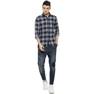 Comfortable wholesale checked plaid men shirt long sleeve manufacturing in India