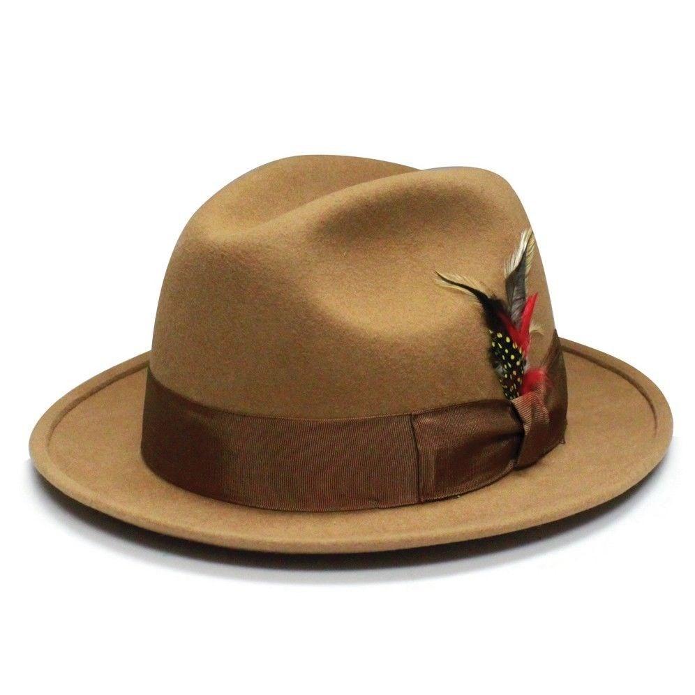 00979429d7d 2019 Wholesale Unisex 100% Wool Felt Hat Round Wide Brim Fedora ...