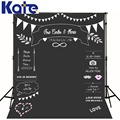 Photocall wedding Theme Backdrops Blackboard for Photo Studio Allenjoy chalk Background Photography customized size Name Date