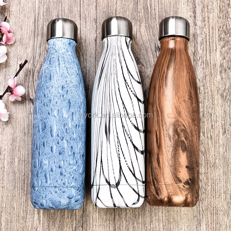 Wood Painting in different color 500ml so well cola shape vacuum insulated water bottle
