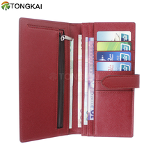 wholesale Elegant red leather womens wallet money clips with leather belt closure