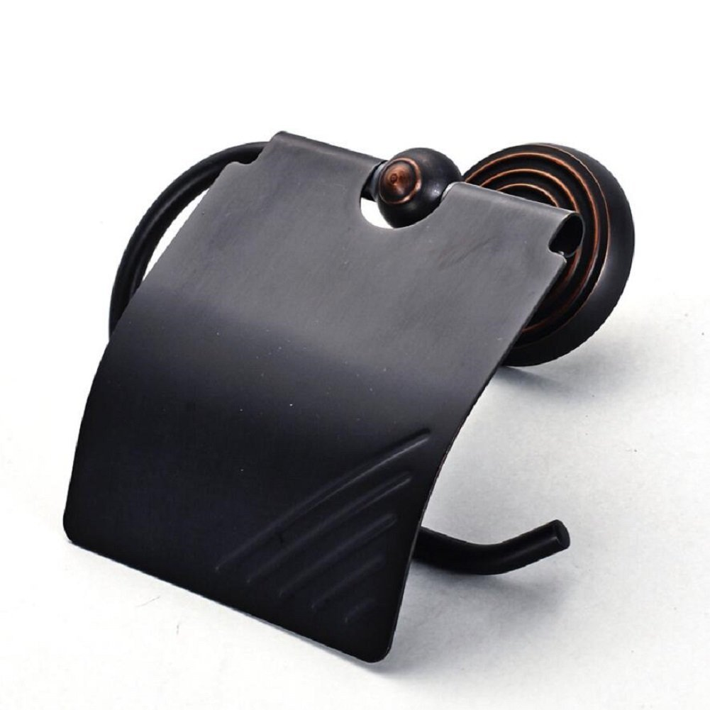 Toilet Paper Holder, European-Style Copper Black Retro Paper Towel Rack, Square Paper Towel Rack, Easy To Install Paper Towel Rack,Black