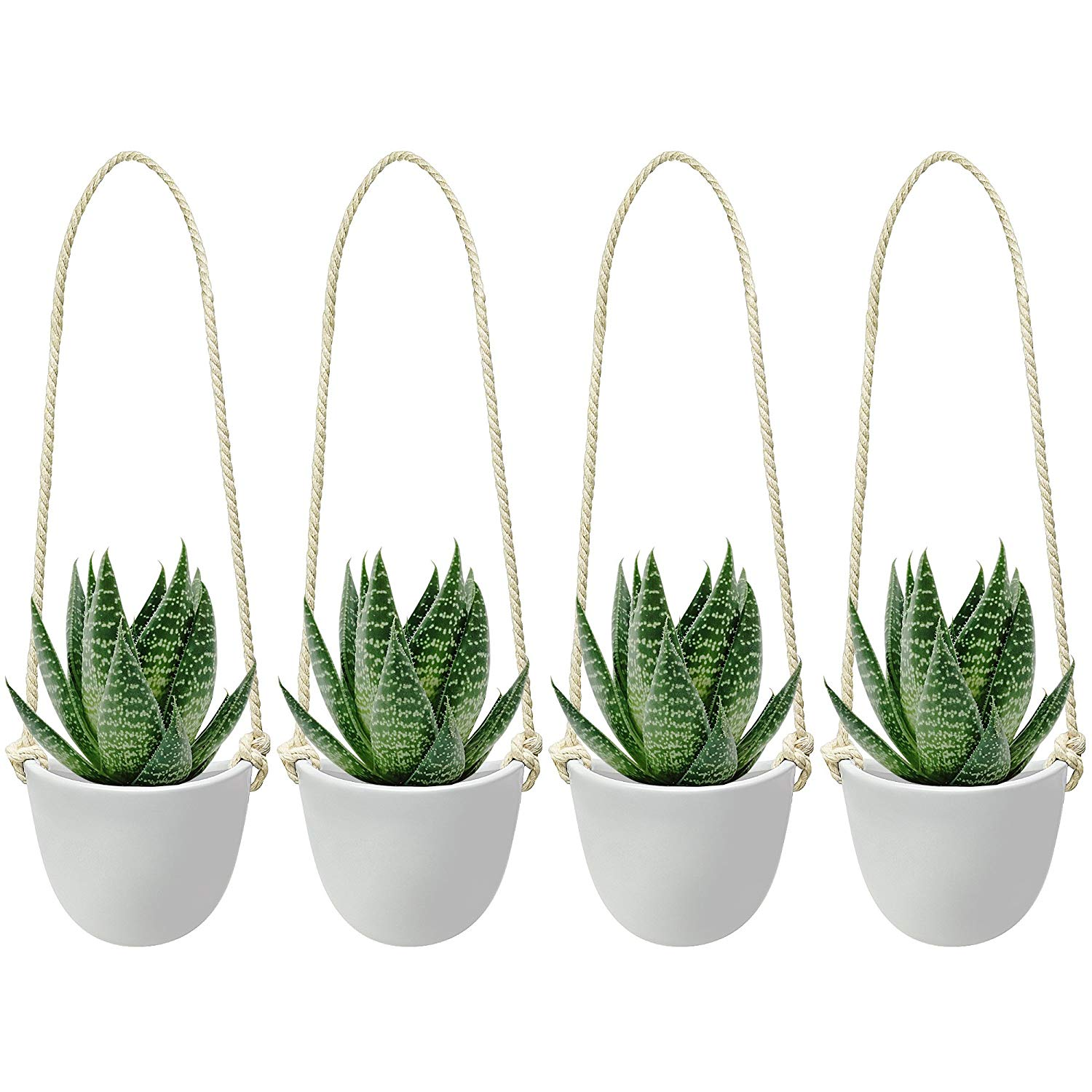 Nellam Ceramic Hanging Planters - Modern White Porcelain Containers - 4 pcs Decorative Pots for Indoor & Outdoor Use - Wall Decor Vase for Garden Flowers, Herbs, Plants and Succulents