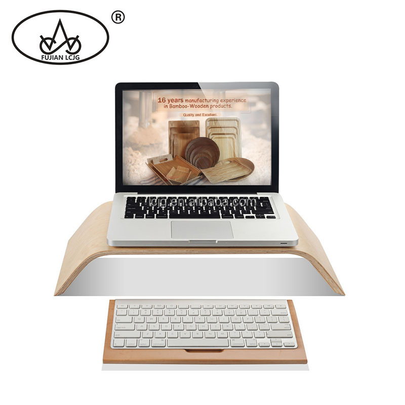 Alibaba Supply High Quality Willow Wooden Laptop Monitor Computer Riser Stand
