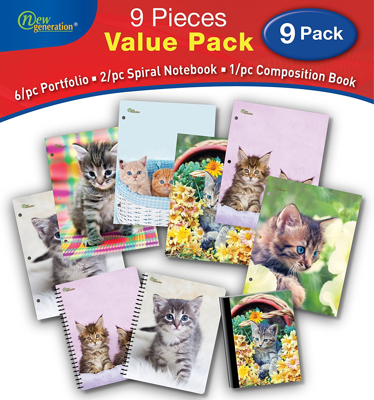 New Generation - Kitten - 9/PC Bundle Value Pack Contain, 6/pc Folders, 2/pc Spiral Notebooks,1/pc Composition Book - 9/pcs Bundle Set, (Wide Ruled 9 Piece Value Pack)