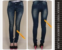 Classical straight tube slim cutting elastic jeans denim jeans top design