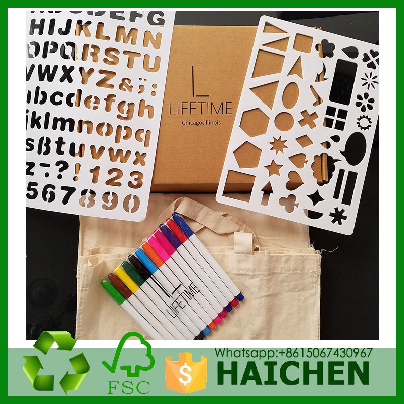 Fun DIY Decorating Kit with 2 Canvas Bags, 12 Fabric Markers, and 2 Stencils