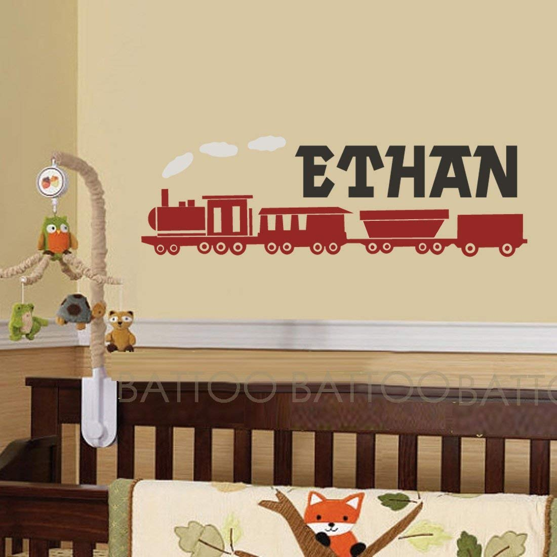 BATTOO Train Wall Decal - Boys Name Wall Decal - Childrens Name Wall Decal - Train Vinyl Wall Decal - Boys Wall Decal - Vinyl Wall Art