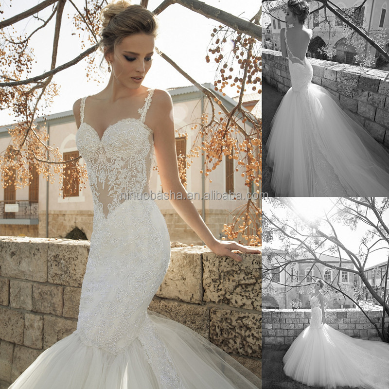 Bottom Tulle Skirt Long Mermaid Wedding Dress Spaghetti