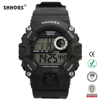SHHORS Casual Sport Digital LCD Watch Stainless Steel Back Water Resistant 3atm