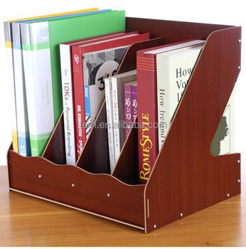 wooden office desktop document u0026 file organizer rack magazine holder