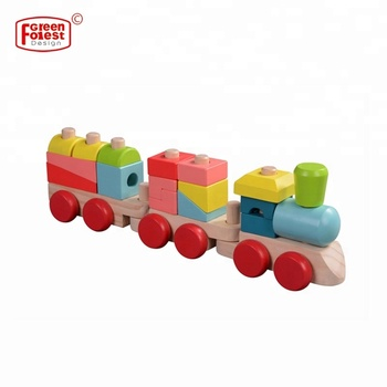 Preschool Colorful Wooden Kids train toys,Educational Wooden Toy Stacking Train for children