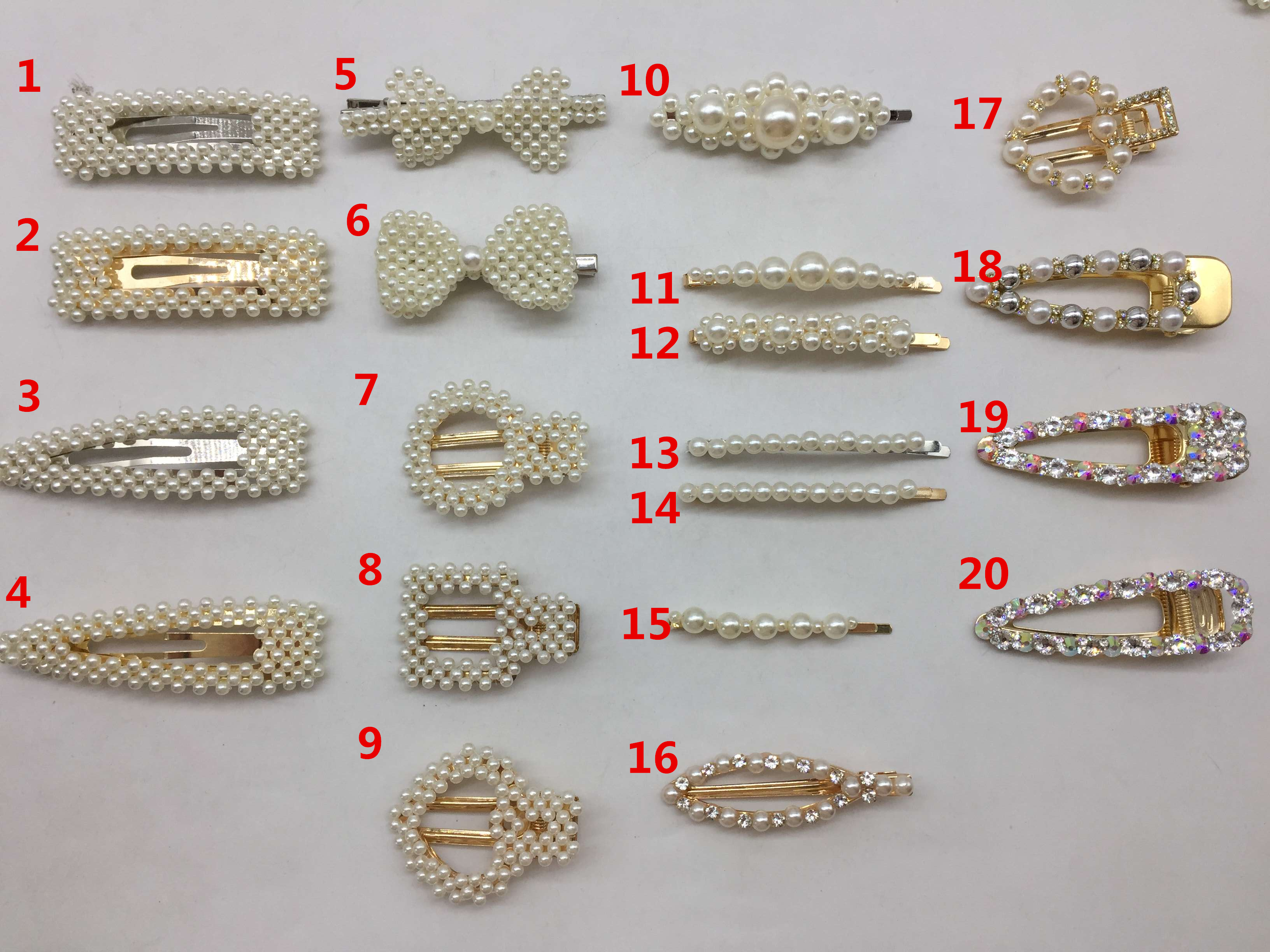Hot-selling girls pearls and rhinestone big size snap hair clips accessories for hair