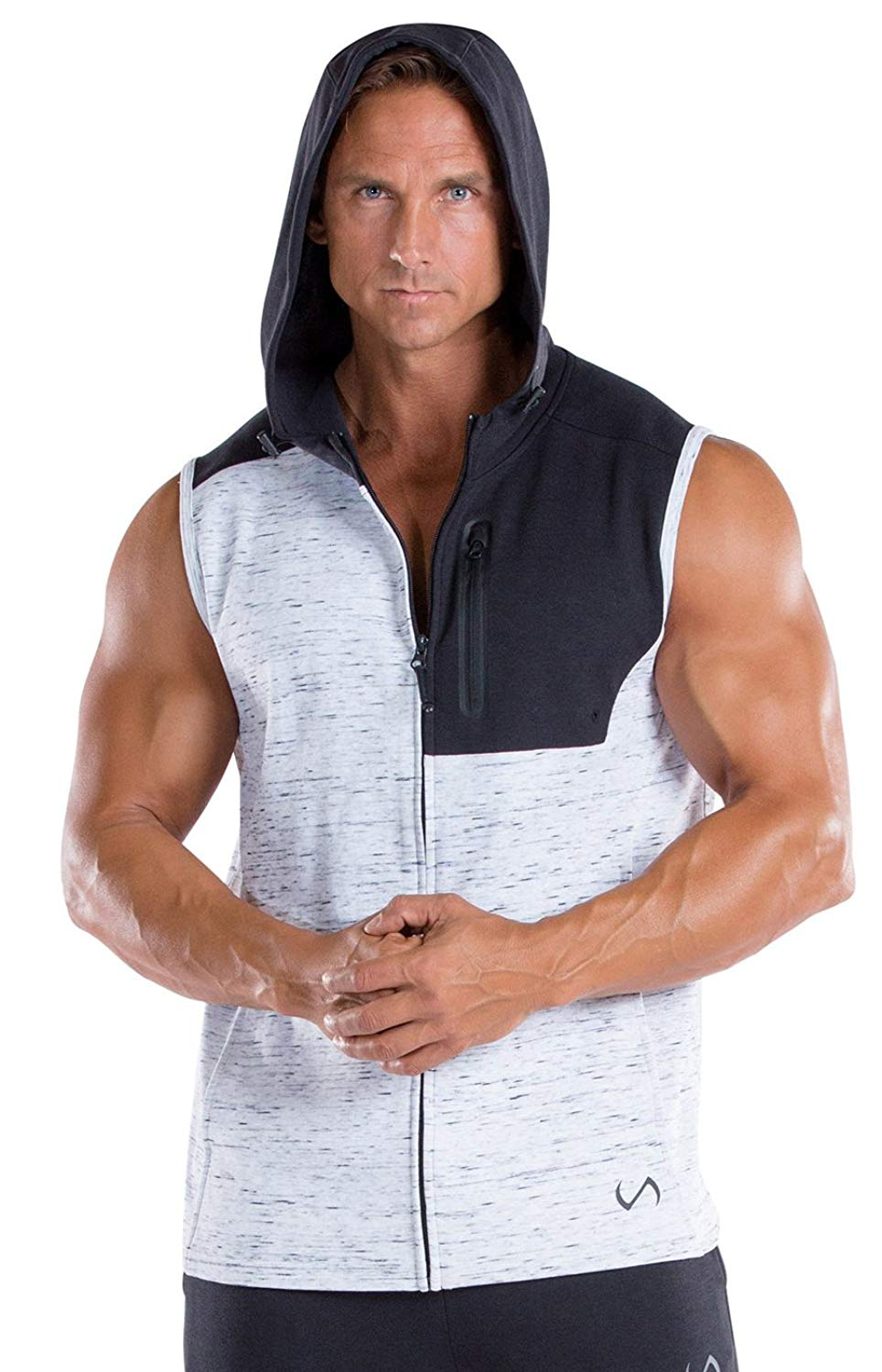 88ac1056193e Get Quotations · TLF Mens Tech Sleeveless Zip up Hoodie