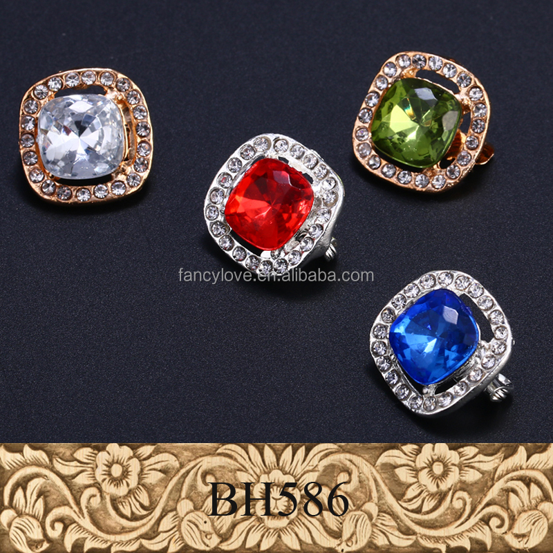 2016 Customize Colorized Geometry Gemstone High Quality Hijab Pins Brooch Pin