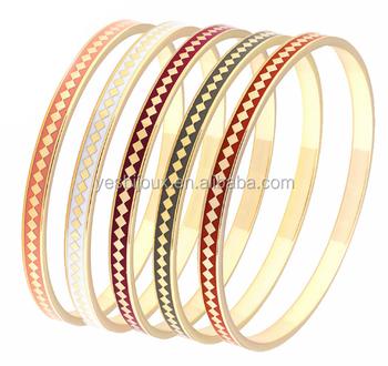 Latest Uni Stainless Steel Thin Enamel Bangle Bracelet