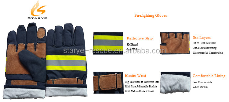 Aramid Fiber Cowhide Felt Fire Fighter Gloves