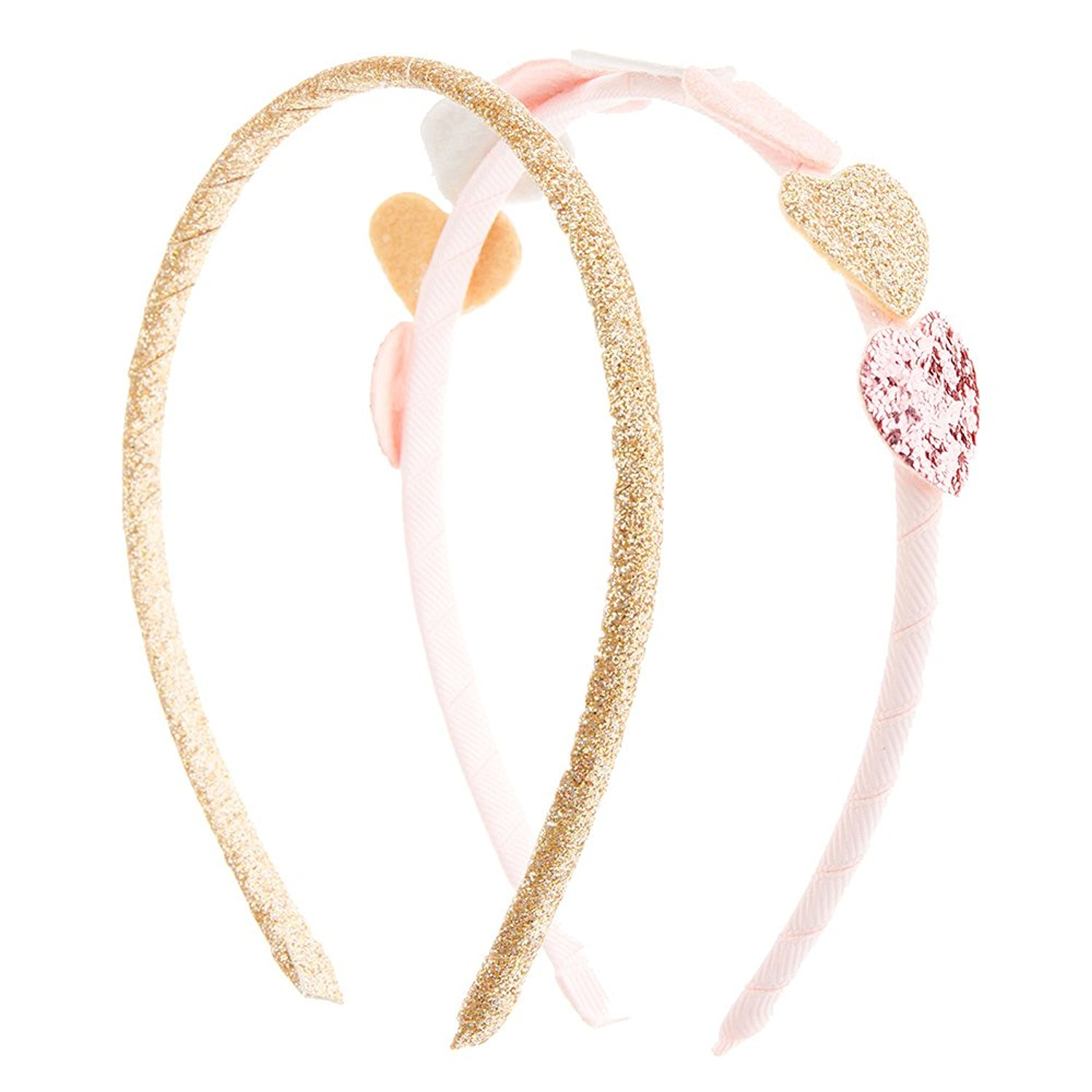 Claire s Accessories Girls Kids Pink and Gold Glitter Heart Headbands Set  ... 542ab908117