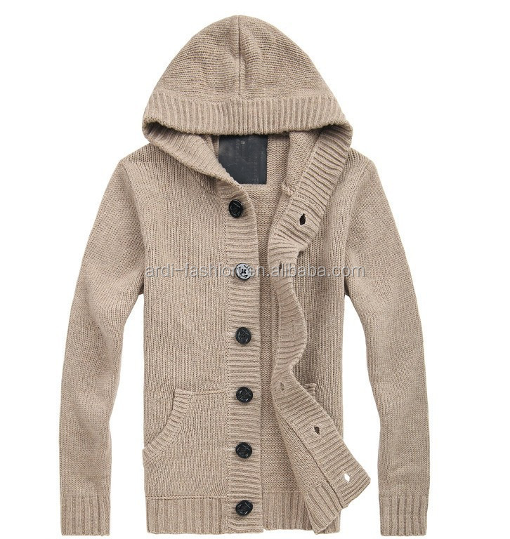 custom design high quality fancy mens wool hooded cardigan