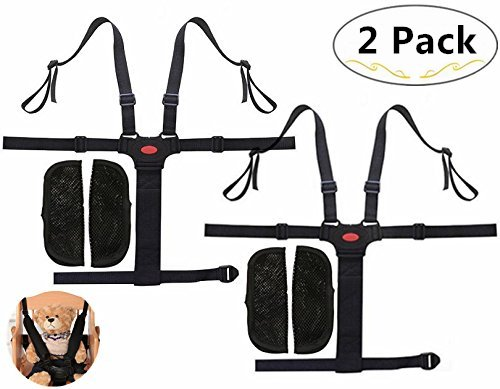 2 Packs Harness Safe Seat Belt, Magnolora 5-point Adjustable Baby Chair Stroller Safety Straps for Baby Highchairs, Baby Stroller, Pushchair, Car Baby Seat, Baby Dining Chair etc