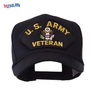 25d75eed424 Veteran Logo Military Ball Cap Black Adjustable US USA Army Baseball Cap