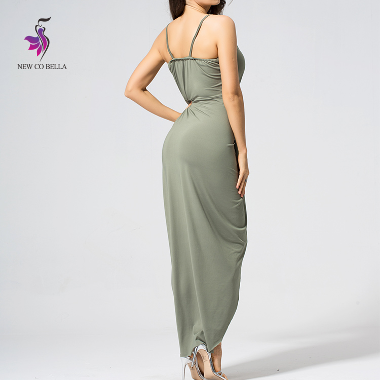 Ankle-length draped design spaghetti strap v-neck party long dress