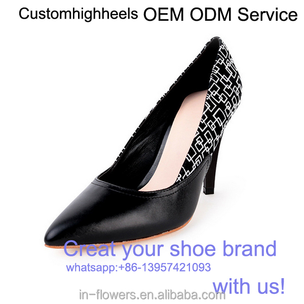 OEM Customized genuine leather middle heel pointed toe women shoes
