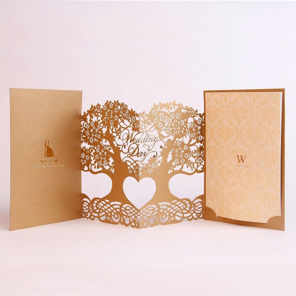 Paper Spiritz Wedding Invitations Cards Kit With Envelopes 3D Pop Up Laser Cut Handmade Invitation Set