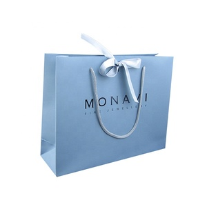 High Quality Luxury Accept Customised Logo Gift Carry Paper Shopping Bags With Bow Tie Ribbon