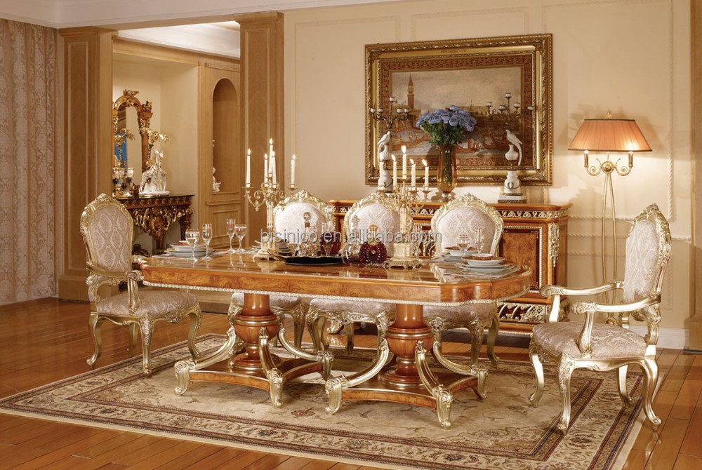 Victoria Style Carved Wooden Dinner Table With ChairsLuxury Golden Furniture Dinning Room Set