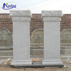 Different style design gate outdoor garden decor white stone carved square pillar designs with great quality
