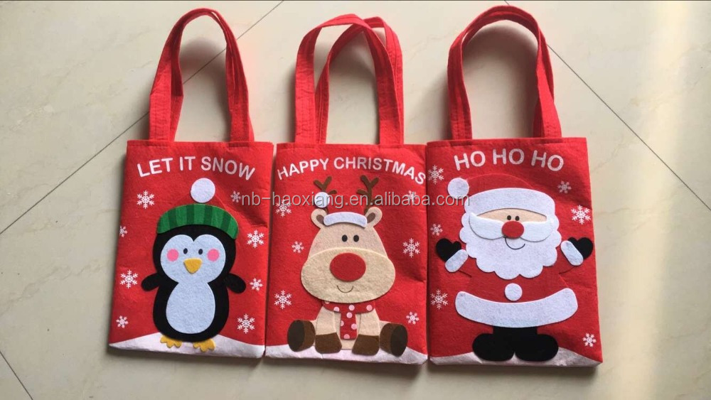 2016 Christmas day party felt gift bag /Santa Claus , penguin & bear & snowman shape bag