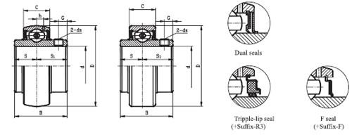 UC211 bearing drawing