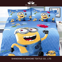 Minions 3D cotton reactive print children duvet cover set/fitted sheet set/comforter set/quilt