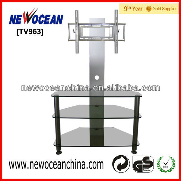 tv963 tempered glass TV stands lcd dvd support floor tv standing
