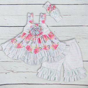 high quality stripe ruffle custom girls boutique clothing