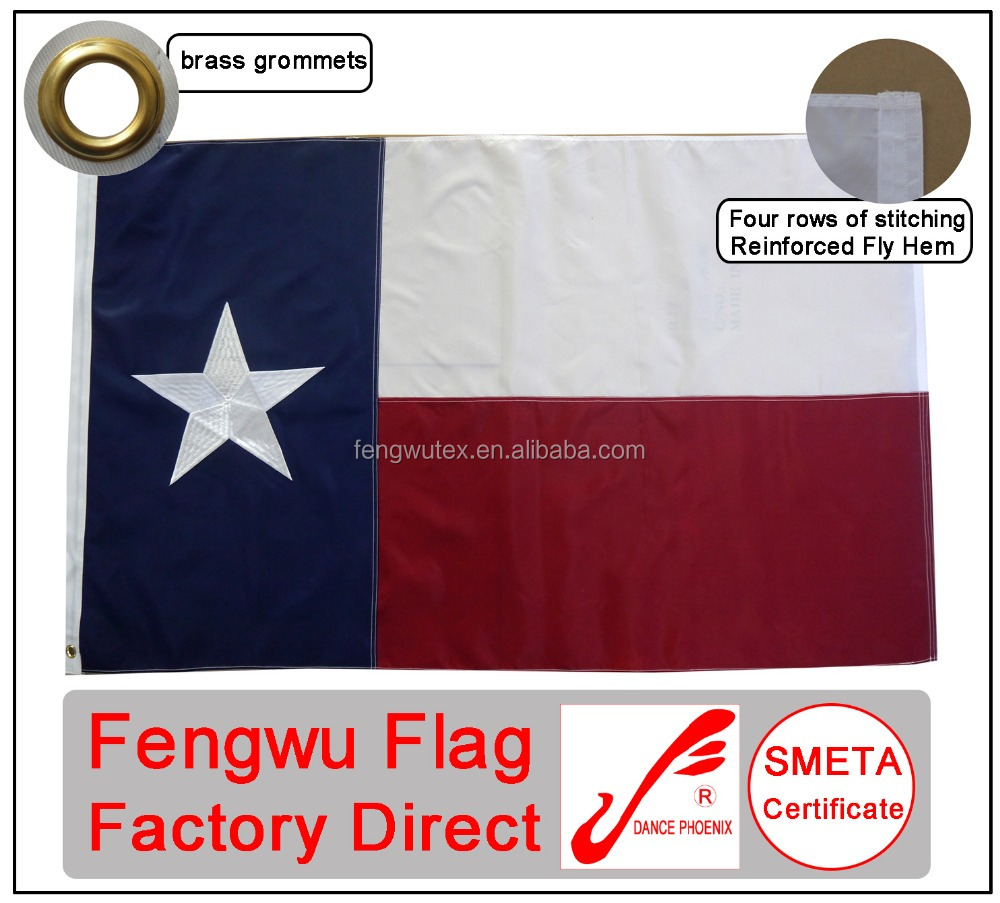 Factory direct good quality embroidered stars red white blue sewn 3x5ft 210D nylon US states Texas flag