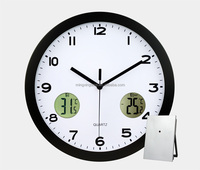 digital wall clock with indoor and outdoor temperature weather station